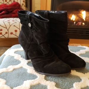 BCBG black suede booties size 9.5